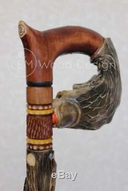 Walking stick Wolf & Grapes Wooden cane high quality Wood craft stick Handmade