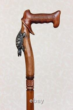 Walking stick cane Turtle Wooden carved cane Hiking sticks