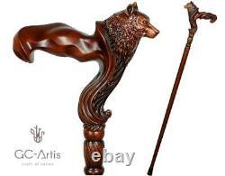 Wolf Cane wooden walking stick ergonomic palm grip handle Walking Cane