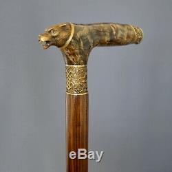 Wolf Stabilized Burl Handle Wooden Handmade Cane Walking Stick Unique Exclusive