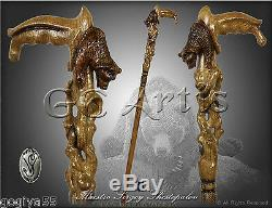 Wooden Bear Walking Stick Cane for man mens Hand Carved Handle handcrafted
