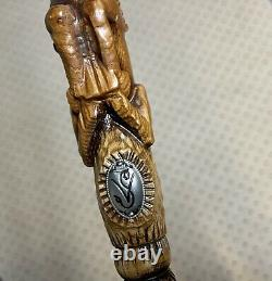 Wooden Cane Walking stick LION & IMPALA Dark Color hand carved