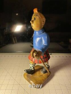 Wooden Hand carved Hiking Tin Tin With Walking Stick/Cane Figurine hand painted