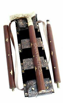 Wooden Handmade Beautiful Walking Stick with Solid Brass Handle 36 inch