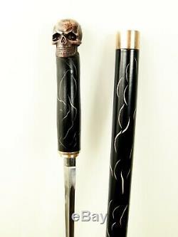Wooden Skull Walking Stick Sword Cane metal shaft with secret blade inside