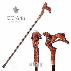 Wooden Walking Cane Stick Cocker Spaniel Hunting Dog Carved Handle for men