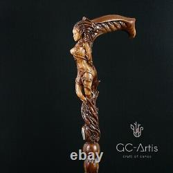 Wooden Walking Cane Stick Hand Carved Forest Fairy Girl Fantasy Magic Mystic