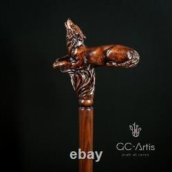 Wooden Walking Cane Wolf Hand carved walking stick for men women