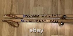 Wooden Walking Hiking Sticks (2) Glacier National Park Etched WithBear Bell/Strap