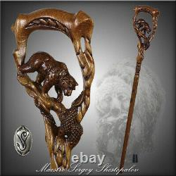 Wooden Walking Stick Cane Hand Carved Crafted Grizzly Bear Salmon Light for men