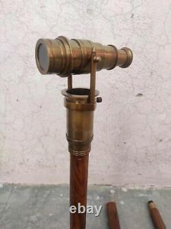 Wooden Walking Stick Cane Hidden Brass Telescope Compass On Top Lot 5 pCS