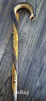 Wooden Walking Stick Cane Hiking Staff hand carved Handmade Cobra dark