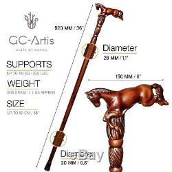Wooden Walking Stick CaneHorse Spring gift for men women ladies gentleman