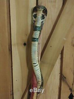 Wooden walking stick / cane hand carved