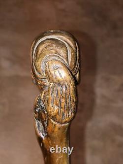Wooden walking stick / cane hand carved Solid Wood Antique Vintage