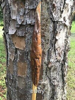 Wooden walking stick / hicking stick Hand Carved in the USA Pine Wood