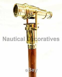 10 Pièces Vintage Marche En Bois Bâton Caché Spy Lunette Brass