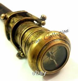 10 Pièces Vintage Marche En Bois Bâton Caché Spy Lunette Compass On Brass Top