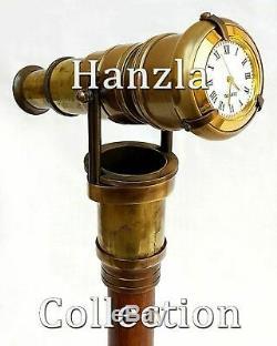 10 Unités Horloge Haut Marche En Bois Avec Bâton En Laiton Antique Invisible Telescope Cane