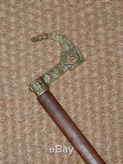 1900c Rare Laiton Antique Poignée-mining-machine-outils De Conception Bâton De Marche En Bois