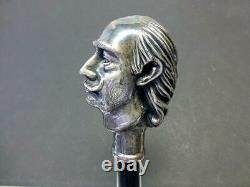 1980 Silver Salvador Dali Autoportrait Sculpture Bâton De Marche Canne En Bois