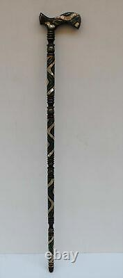 36 Malachite & Mother Of Pearl Inlaid Ebony Wooden Handmade Walking Cane Stick