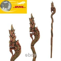 48 Main Sculpté Teck Bâton De Marche Canne En Bois Naga Snake Collectible Bouddhisme