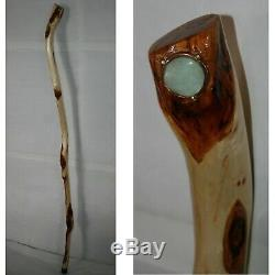 52 '' Stick Walking En Bois Handcrafted, Marqueté Calcédoine Cuivre, Diamant Willow