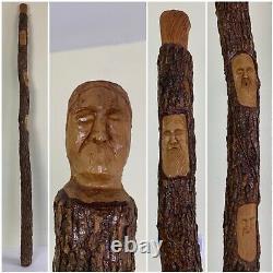 53.5 Bâton De Marche En Bois / Faces Sculptées À La Main De Canne