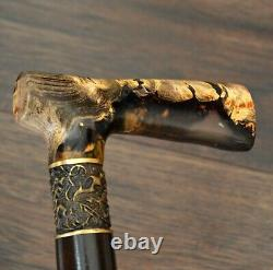 Acrylique Walking Cane Walking Stick Wooden Handmade Bronze Parts Stabilisé Burl