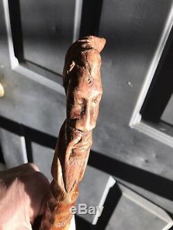 Africaine Main Américaine Bois Sculpté Bâton De Canne D'art Populaire