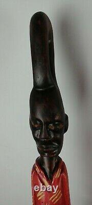 African Main Sculpté Homme En Bois Visage Et Serpent Bâton De Marche Canne 37,5 X 6,5