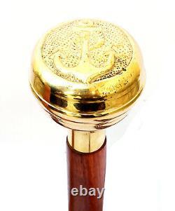 Anchor Brass Head W Poignée Victorian Design Bâton De Marche En Bois Cane Meilleur Cadeau