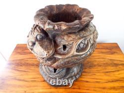 Antique 19ème C Serpent En Bois Pot Parapluie Bâton De Marche En Bois Asiatique Support Carving