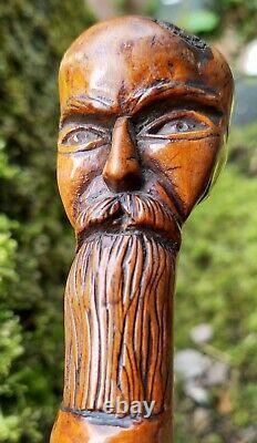 Antique Carved Wooden Japanese Head Walking Stick Steam Punk Steampunk