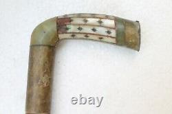 Antique Original Jade Inlay Poignée Swagger En Bois Bâton De Marche Nh3547