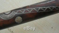 Antique Silver Incrusté En Bois Russe Marche Canne Bâton Très Rare