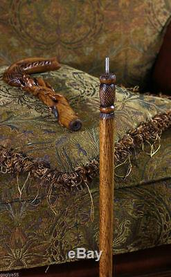 Bâton De Bâton De Marche En Bois De Fleur De Rose Avec Bâton Sculpté À La Main Mz09