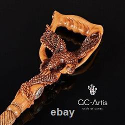 Bâton De Canne À Pied En Bois Sculpté À La Main D'aigle Américain Pour La Poignée Ergonomique D'hommes