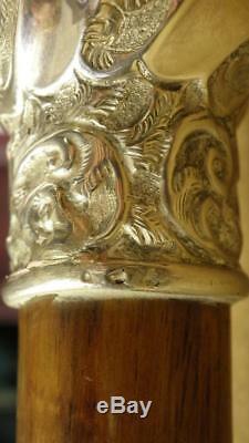 Bâton De Canne Antique En Bois Argent Poinçonné 85cm