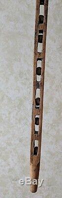 Bâton De Canne En Bois Sculpté À La Main Antique Vintage Vintage Folk Art