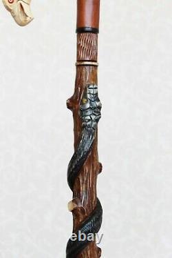 Bâton De Marche Aigle Américain Et Serpent Poignée Sculptée Et Bâton Canne En Bois