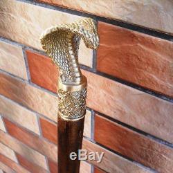 Bâton De Marche Bronze Canne Cobra Canne Accessoires En Bois Fait Main Pour Hommes