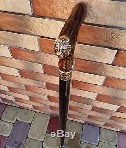 Bâton De Marche Bronze Lion De Canne En Bois Burl Main Accessoires Pour Hommes De Canne