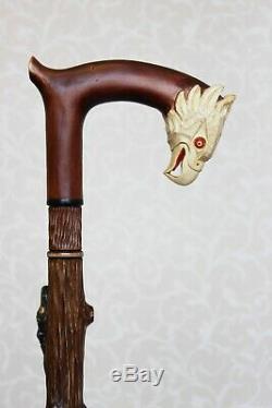 Bâton De Marche Canne Aigle Américain Et Serpent Poignée Sculptée En Bois Et Le Personnel De La Canne