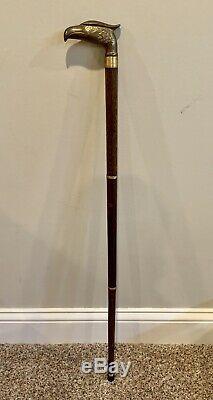 Bâton De Marche Canne En Bois Bronze Antique Laiton Bronze Contrebande 3 Pièces Vf