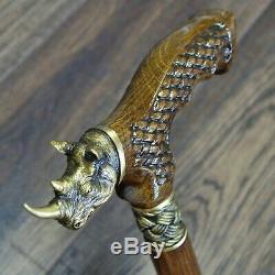 Bâton De Marche Canne Rhinocéros En Bois Canne Unique Main Bronze