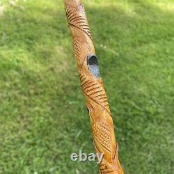 Bâton De Marche De Canne En Bois Folk Art Sculpté Personnel Peint Africain Brun Noir Tiki