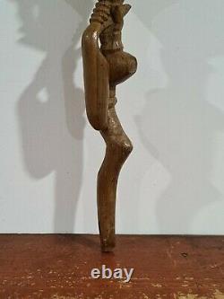 Bâton De Marche En Bois Africain Nyami Nyami Lourdement Sculpté