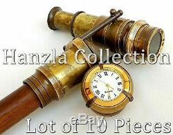 Bâton De Marche En Bois Avec Horloge, Lunette Cachée En Laiton Antique, 10 Unités